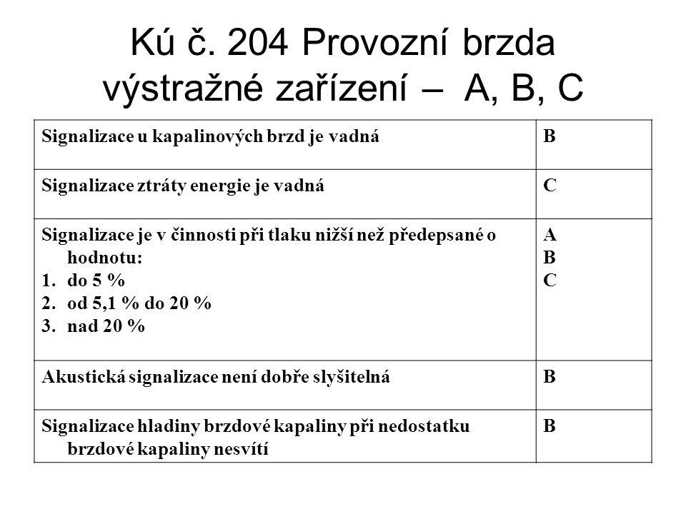 Kú č. 204 Provozní brzda výstražné zařízení – A, B, C Signalizace u kapalinových brzd je vadnáB Signalizace ztráty energie je vadnáC Signalizace je v