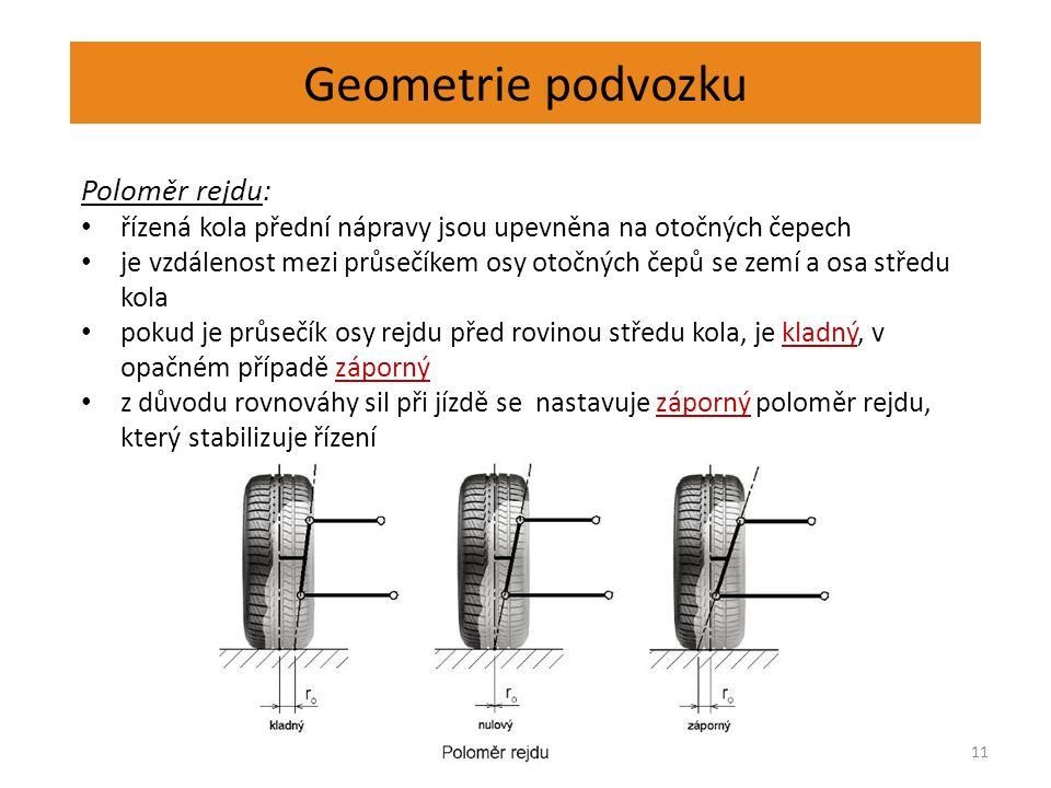 Geometrie podvozku 11 Poloměr rejdu: řízená kola přední nápravy jsou upevněna na otočných čepech je vzdálenost mezi průsečíkem osy otočných čepů se ze