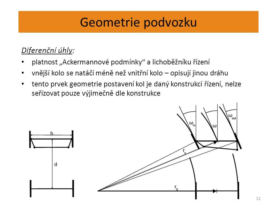 """Geometrie podvozku 12 Diferenční úhly: platnost """"Ackermannové podmínky"""" a lichoběžníku řízení vnější kolo se natáčí méně než vnitřní kolo – opisují ji"""