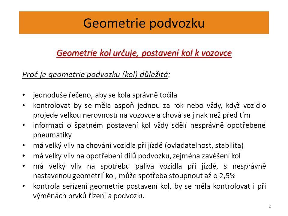 Geometrie podvozku 2 Geometrie kol určuje, postavení kol k vozovce Proč je geometrie podvozku (kol) důležitá: jednoduše řečeno, aby se kola správně to