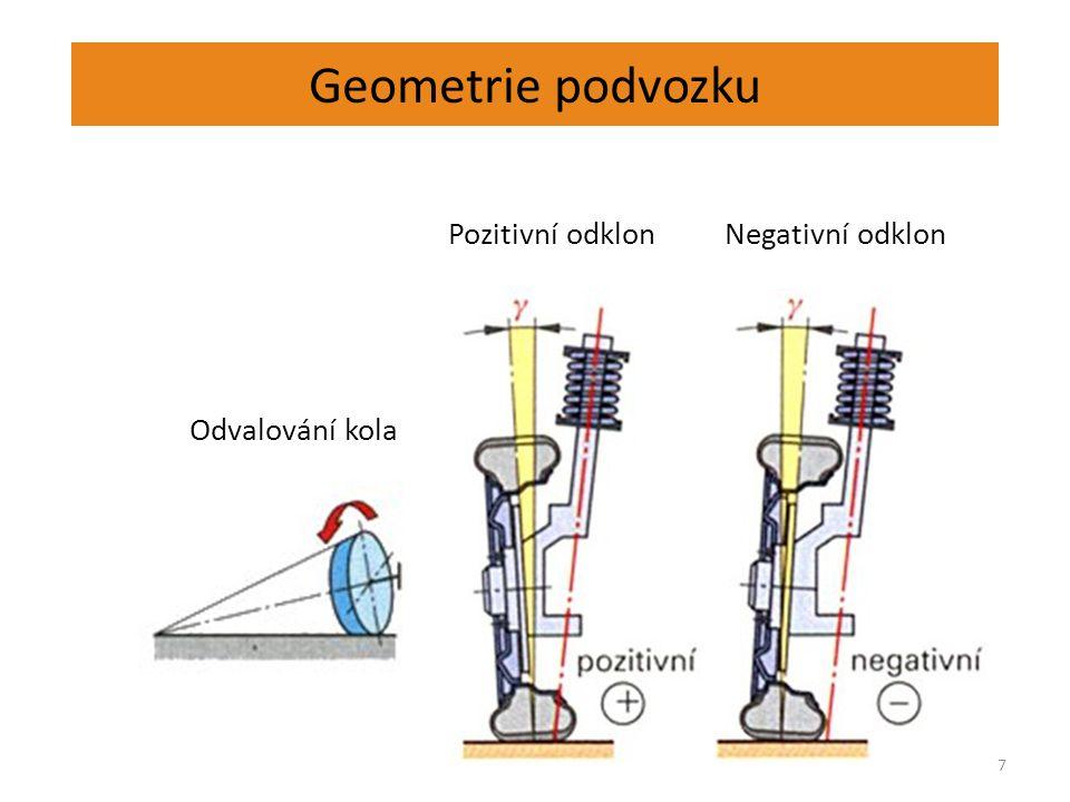 Geometrie podvozku 7 Pozitivní odklonNegativní odklon Odvalování kola