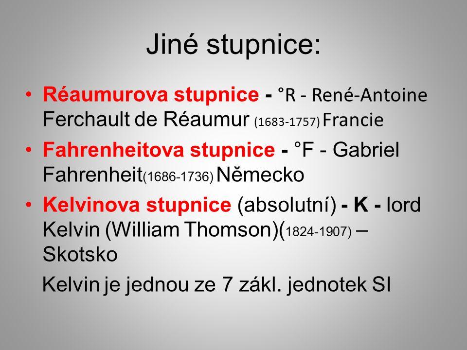 Jiné stupnice: Réaumurova stupnice - °R - René-Antoine Ferchault de Réaumur ( 1683-1757) Francie Fahrenheitova stupnice - °F - Gabriel Fahrenheit (1686-1736) Německo Kelvinova stupnice (absolutní) - K - lord Kelvin (William Thomson)( 1824-1907) – Skotsko Kelvin je jednou ze 7 zákl.