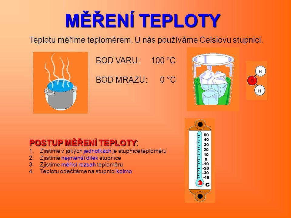 MĚŘENÍ TEPLOTY Teplotu měříme teploměrem. U nás používáme Celsiovu stupnici. BOD VARU: 100 °C BOD MRAZU: 0 °C POSTUP MĚŘENÍ TEPLOTY POSTUP MĚŘENÍ TEPL
