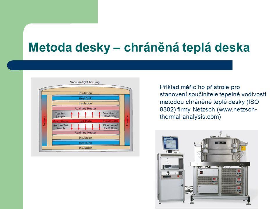 Metoda desky – chráněná teplá deska Příklad měřícího přístroje pro stanovení součinitele tepelné vodivosti metodou chráněné teplé desky (ISO 8302) firmy Netzsch (www.netzsch- thermal-analysis.com)