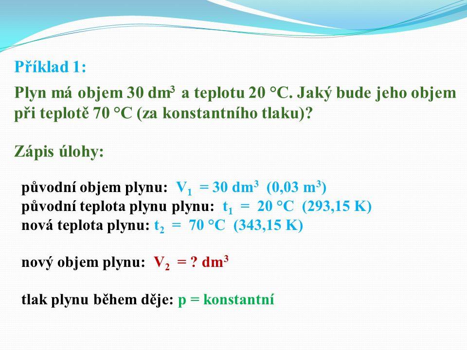Příklad 1: Plyn má objem 30 dm 3 a teplotu 20 °C.