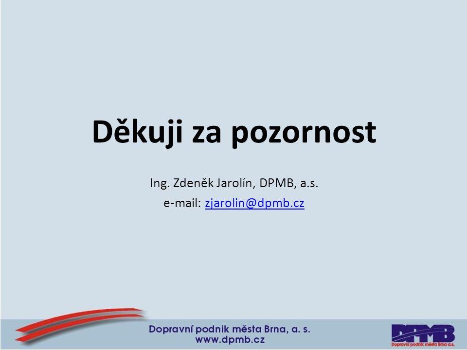 Děkuji za pozornost Ing. Zdeněk Jarolín, DPMB, a.s. e-mail: zjarolin@dpmb.czzjarolin@dpmb.cz