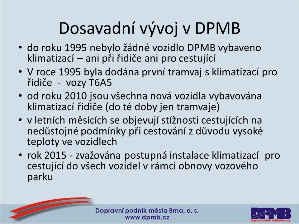Dosavadní vývoj v DPMB do roku 1995 nebylo žádné vozidlo DPMB vybaveno klimatizací – ani při řidiče ani pro cestující V roce 1995 byla dodána první tramvaj s klimatizací pro řidiče - vozy T6A5 od roku 2010 jsou všechna nová vozidla vybavována klimatizací řidiče (do té doby jen tramvaje) v letních měsících se objevují stížnosti cestujících na nedůstojné podmínky při cestování z důvodu vysoké teploty ve vozidlech rok 2015 - zvažována postupná instalace klimatizací pro cestující do všech vozidel v rámci obnovy vozového parku