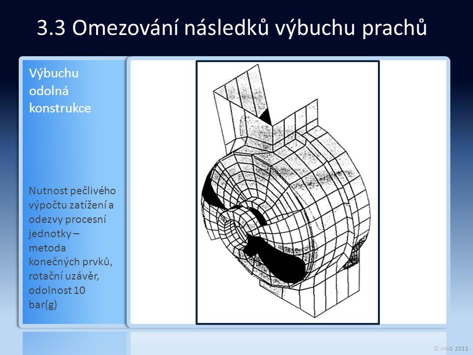 © IHAS 2011 3.3 Omezování následků výbuchu prachů Nutnost pečlivého výpočtu zatížení a odezvy procesní jednotky – metoda konečných prvků, rotační uzáv