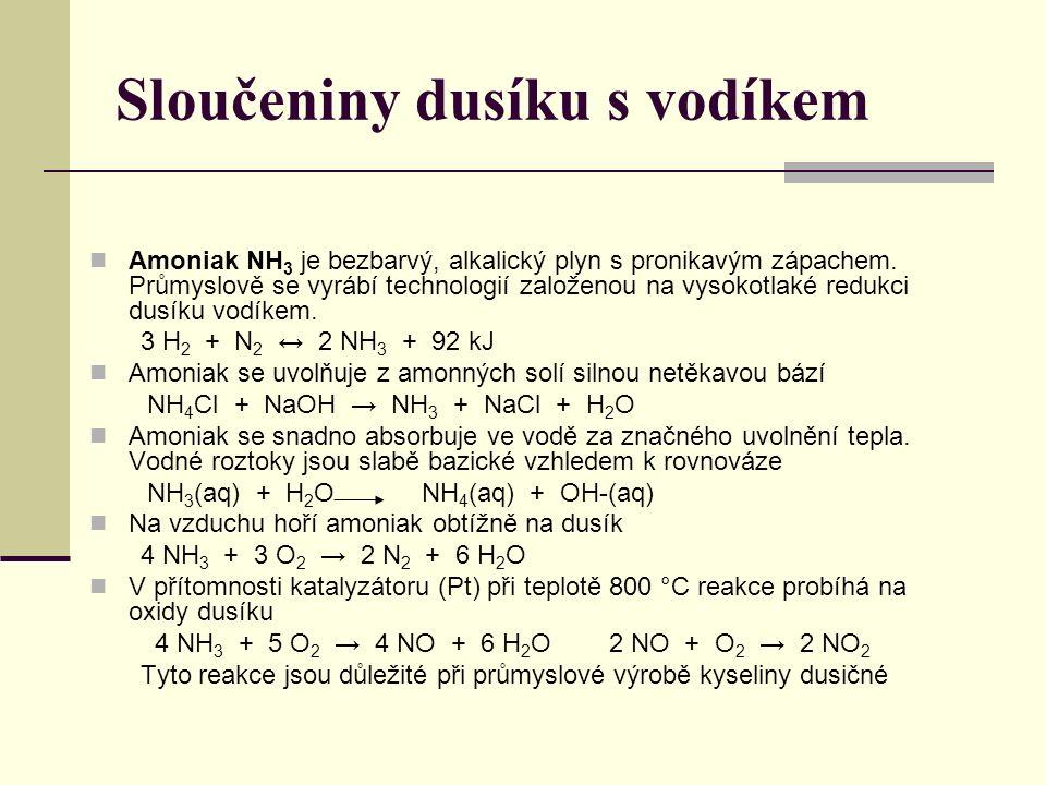 Sloučeniny dusíku s vodíkem Amoniak NH 3 je bezbarvý, alkalický plyn s pronikavým zápachem. Průmyslově se vyrábí technologií založenou na vysokotlaké
