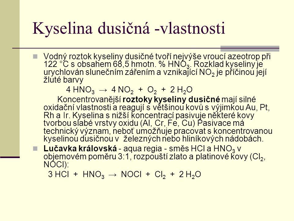 Kyselina dusičná -vlastnosti Vodný roztok kyseliny dusičné tvoří nejvýše vroucí azeotrop při 122 °C s obsahem 68,5 hmotn. % HNO 3. Rozklad kyseliny je