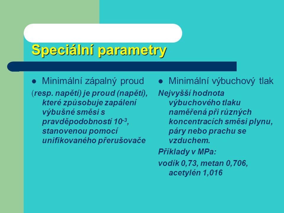 Minimální zápalné energie Látka ve směsi se vzduchem W min v mJ Koncentrace směsi v objem % acetylén0,0197,7 metan0,288,5 sirouhlík0,0097,8 cukr89800 dřevěný prach 140600 obilní prach 1220600 PE800600 uhlí2520500 Acetylen a kyslík 0,0002