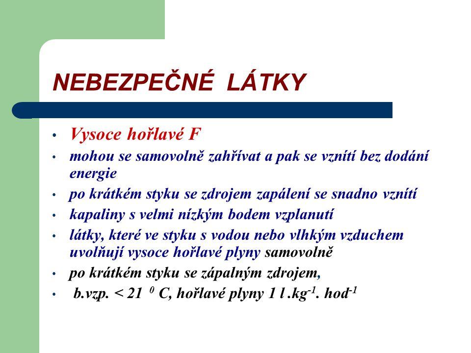 """NEBEZPEČNÉ LÁTKY Zákon o chemických látkách a chemických přípravcích 356/2003 (včetně změn 186/2004, 125/2005, 345/2005, 222/2006) Výbušné E exotermní reakce i bez přístupu kyslíku, vývin plynu, detonace Oxidující O při styku s jinými látkami vysoce exotermní reakce Extrémně hořlavé F+ """"l """" b."""