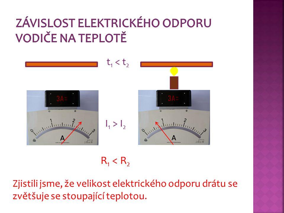 I 1 > I 2 R 1 < R 2 Zjistili jsme, že velikost elektrického odporu drátu se zvětšuje se stoupající teplotou.