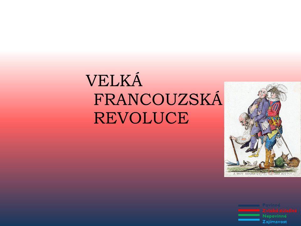 Povinné Zvláště důležité Nepovinné Zajímavost PŘÍNOS VELKÉ FRANCOUZSKÉ REVOLUCE Ohromné změny ve společnosti (konec novověku a začátek moderní doby) – Odstranění privilegií šlechty a duchovenstva – Rovnost všech lidí před zákonem – Svoboda pro všechny lidi – Do popředí se dostávají prvky kapitalistické společnosti – Ovlivnění společnosti v celé Evropě