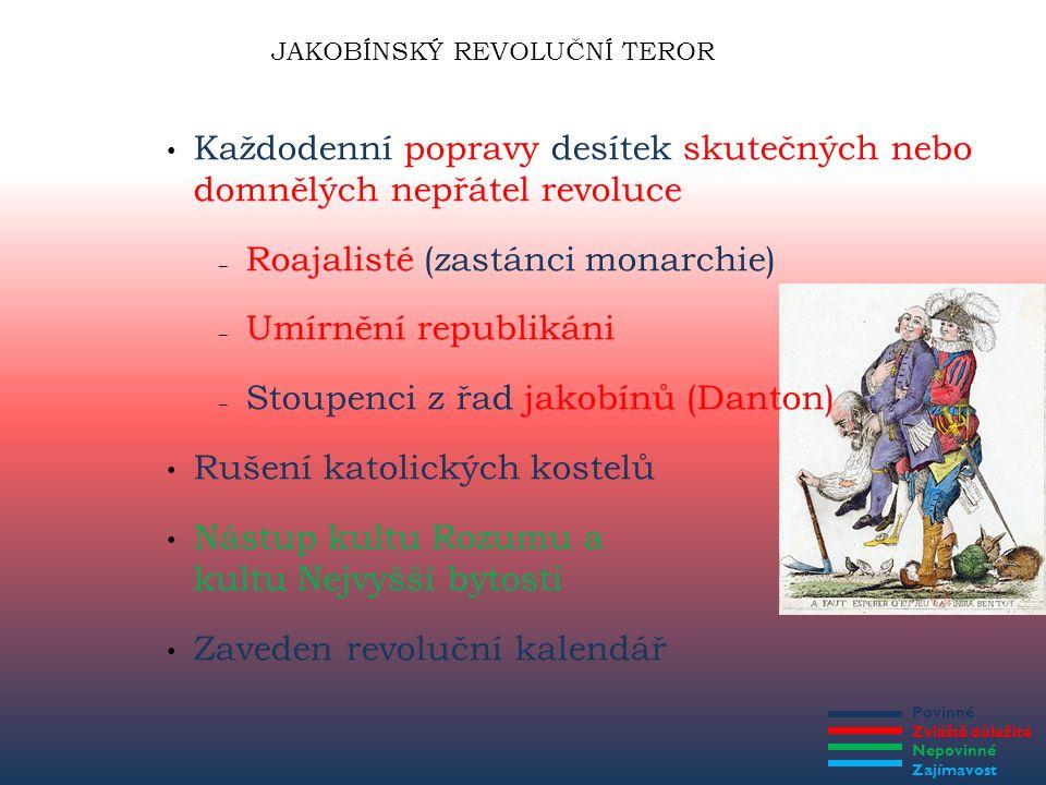 Povinné Zvláště důležité Nepovinné Zajímavost JAKOBÍNSKÝ REVOLUČNÍ TEROR Každodenní popravy desítek skutečných nebo domnělých nepřátel revoluce – Roaj
