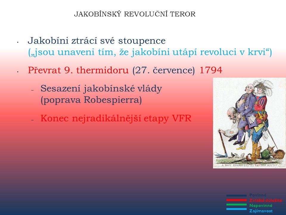 """Povinné Zvláště důležité Nepovinné Zajímavost JAKOBÍNSKÝ REVOLUČNÍ TEROR Jakobíni ztrácí své stoupence (""""jsou unaveni tím, že jakobíni utápí revoluci"""