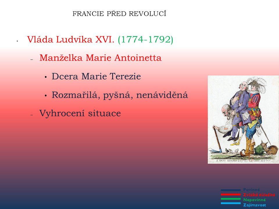 Povinné Zvláště důležité Nepovinné Zajímavost FRANCIE PŘED REVOLUCÍ Vláda Ludvíka XVI. (1774-1792) – Manželka Marie Antoinetta Dcera Marie Terezie Roz