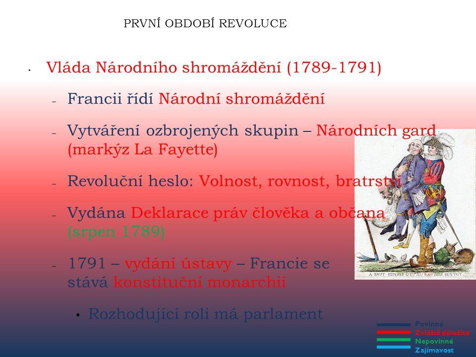 Povinné Zvláště důležité Nepovinné Zajímavost PRVNÍ OBDOBÍ REVOLUCE Vláda Národního shromáždění (1789-1791) – Francii řídí Národní shromáždění – Vytvá