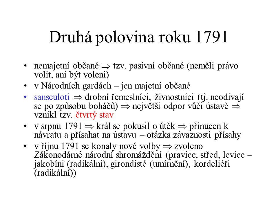Druhá polovina roku 1791 nemajetní občané  tzv.