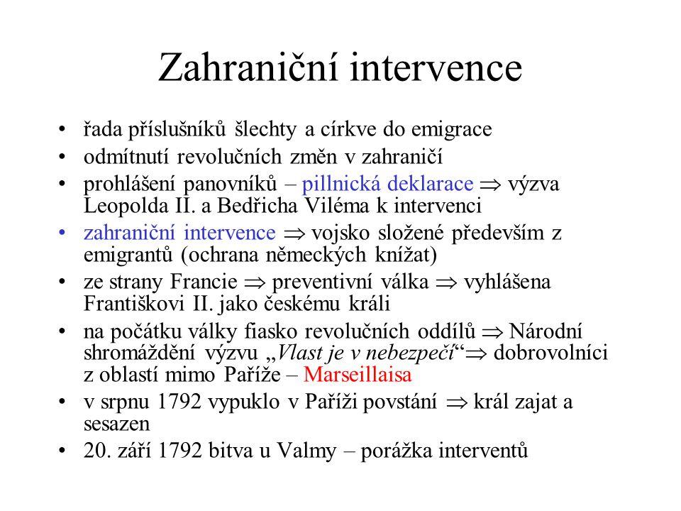 Zahraniční intervence řada příslušníků šlechty a církve do emigrace odmítnutí revolučních změn v zahraničí prohlášení panovníků – pillnická deklarace  výzva Leopolda II.