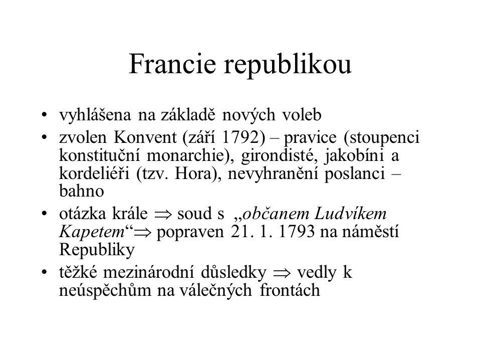 Francie republikou vyhlášena na základě nových voleb zvolen Konvent (září 1792) – pravice (stoupenci konstituční monarchie), girondisté, jakobíni a kordeliéři (tzv.