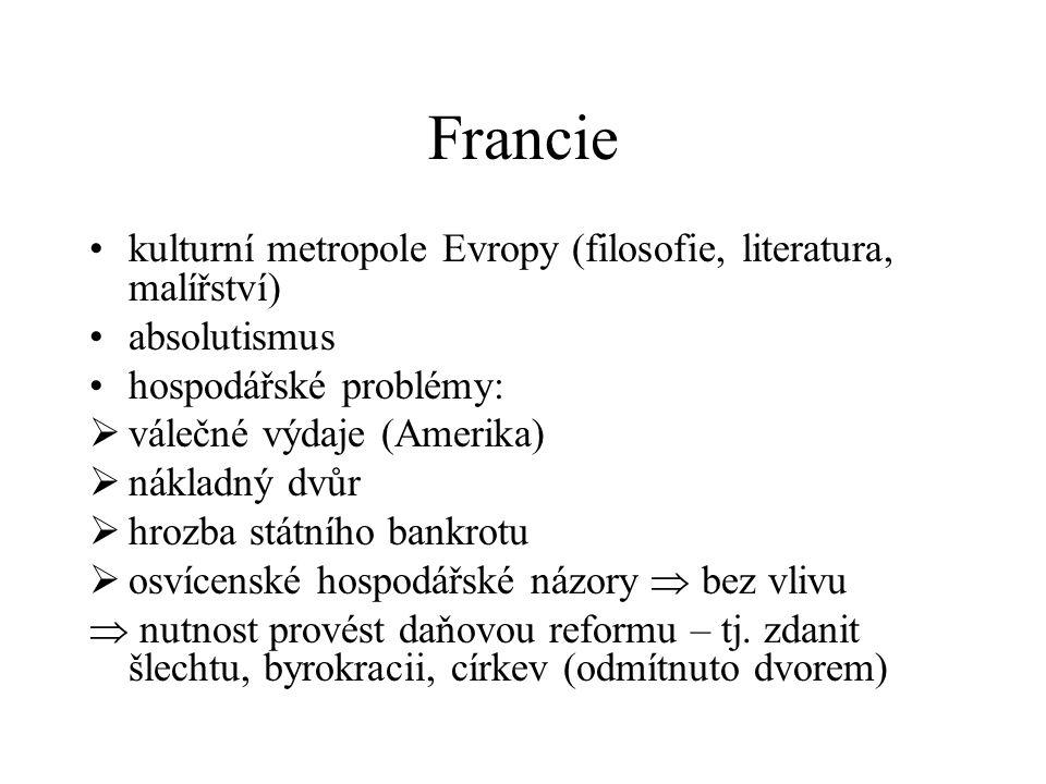 Francie kulturní metropole Evropy (filosofie, literatura, malířství) absolutismus hospodářské problémy:  válečné výdaje (Amerika)  nákladný dvůr  h