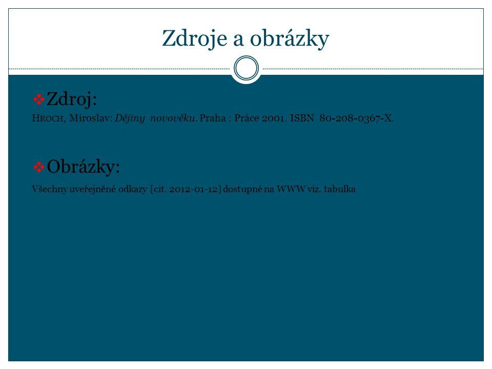 Zdroje a obrázky  Zdroj: H ROCH, Miroslav: Dějiny novověku.