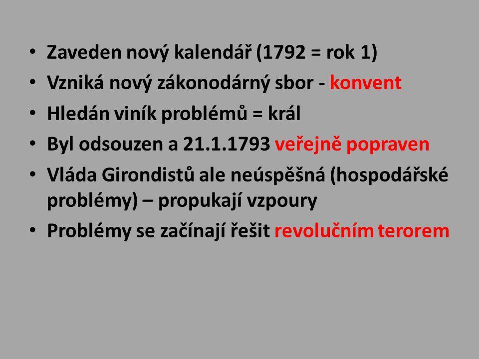 Zaveden nový kalendář (1792 = rok 1) Vzniká nový zákonodárný sbor - konvent Hledán viník problémů = král Byl odsouzen a 21.1.1793 veřejně popraven Vláda Girondistů ale neúspěšná (hospodářské problémy) – propukají vzpoury Problémy se začínají řešit revolučním terorem