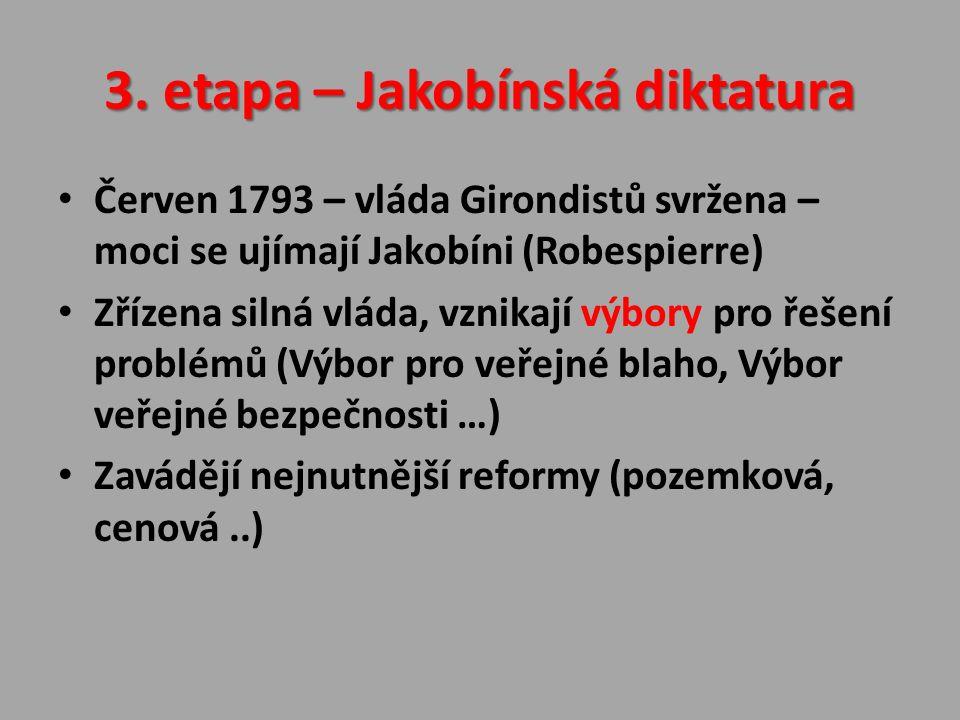 3. etapa – Jakobínská diktatura Červen 1793 – vláda Girondistů svržena – moci se ujímají Jakobíni (Robespierre) Zřízena silná vláda, vznikají výbory p