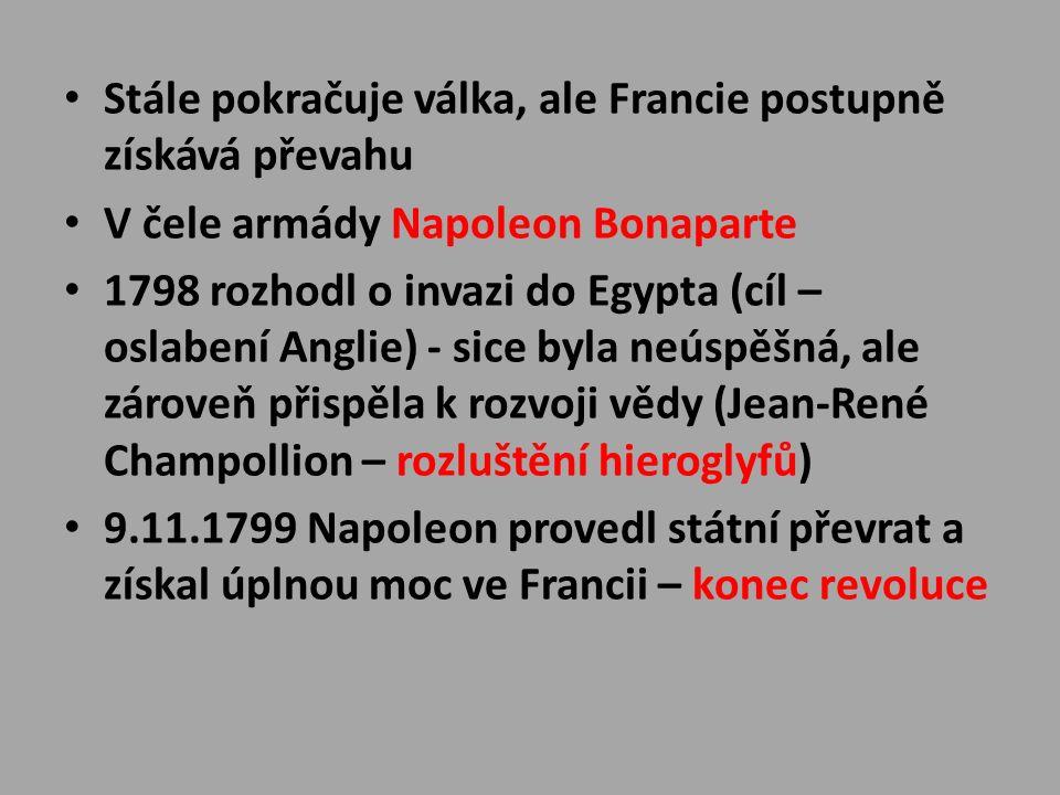 Stále pokračuje válka, ale Francie postupně získává převahu V čele armády Napoleon Bonaparte 1798 rozhodl o invazi do Egypta (cíl – oslabení Anglie) - sice byla neúspěšná, ale zároveň přispěla k rozvoji vědy (Jean-René Champollion – rozluštění hieroglyfů) 9.11.1799 Napoleon provedl státní převrat a získal úplnou moc ve Francii – konec revoluce
