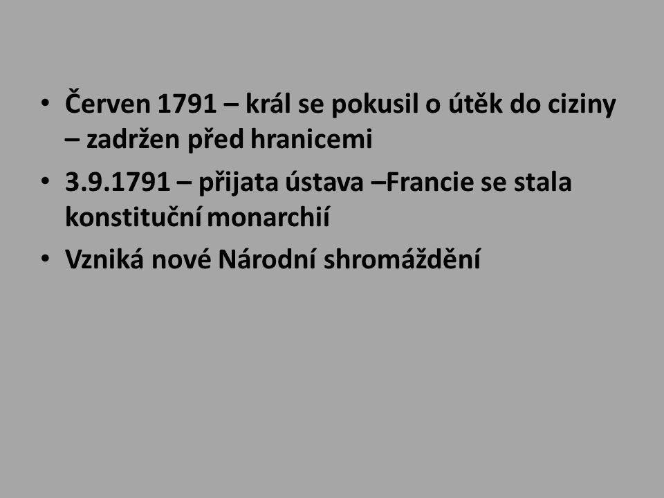Červen 1791 – král se pokusil o útěk do ciziny – zadržen před hranicemi 3.9.1791 – přijata ústava –Francie se stala konstituční monarchií Vzniká nové