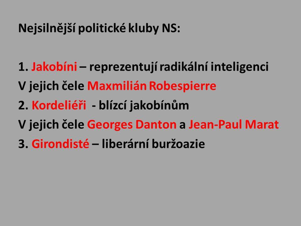 Nejsilnější politické kluby NS: 1. Jakobíni – reprezentují radikální inteligenci V jejich čele Maxmilián Robespierre 2. Kordeliéři - blízcí jakobínům