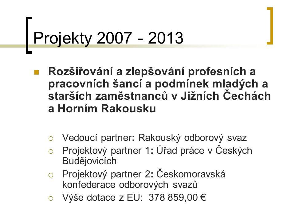 Projekty 2007 - 2013 Rozšiřování a zlepšování profesních a pracovních šancí a podmínek mladých a starších zaměstnanců v Jižních Čechách a Horním Rakou