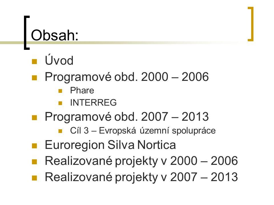 Obsah: Úvod Programové obd. 2000 – 2006 Phare INTERREG Programové obd.
