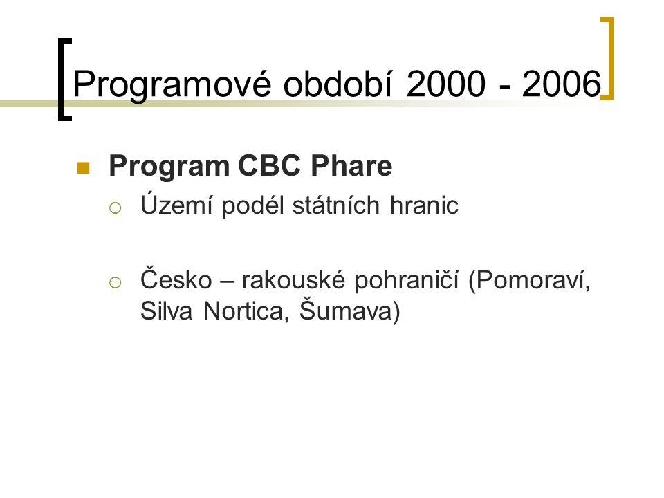 Programové období 2000 - 2006 Program CBC Phare  Území podél státních hranic  Česko – rakouské pohraničí (Pomoraví, Silva Nortica, Šumava)