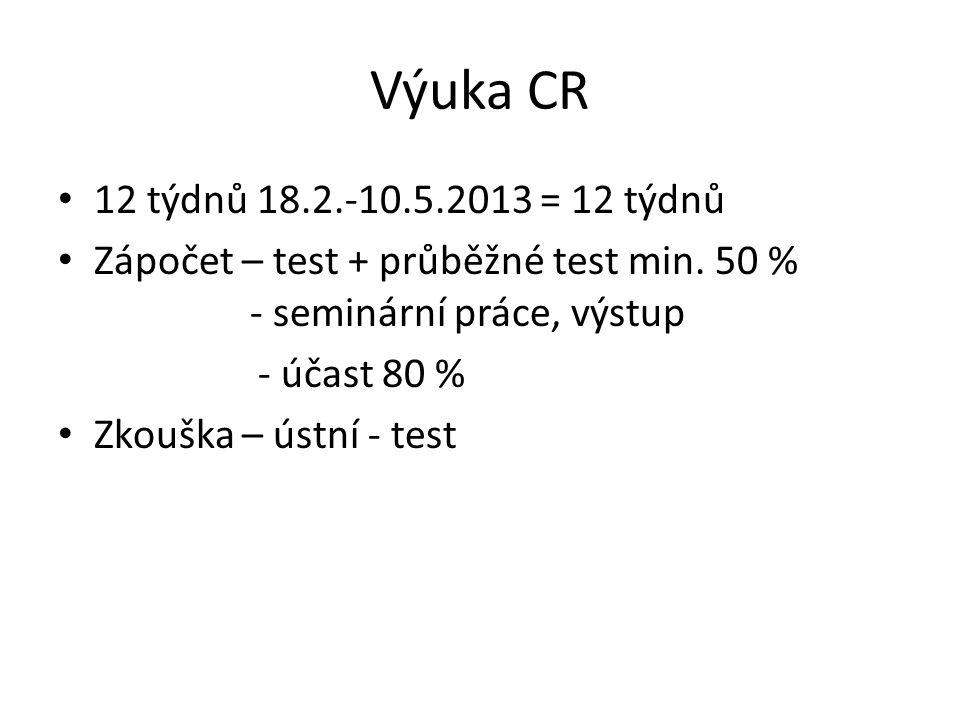 Výuka CR 12 týdnů 18.2.-10.5.2013 = 12 týdnů Zápočet – test + průběžné test min.