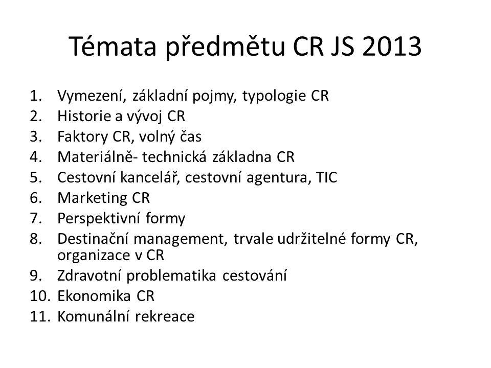Témata předmětu CR JS 2013 1.Vymezení, základní pojmy, typologie CR 2.Historie a vývoj CR 3.Faktory CR, volný čas 4.Materiálně- technická základna CR 5.Cestovní kancelář, cestovní agentura, TIC 6.Marketing CR 7.Perspektivní formy 8.Destinační management, trvale udržitelné formy CR, organizace v CR 9.Zdravotní problematika cestování 10.Ekonomika CR 11.Komunální rekreace