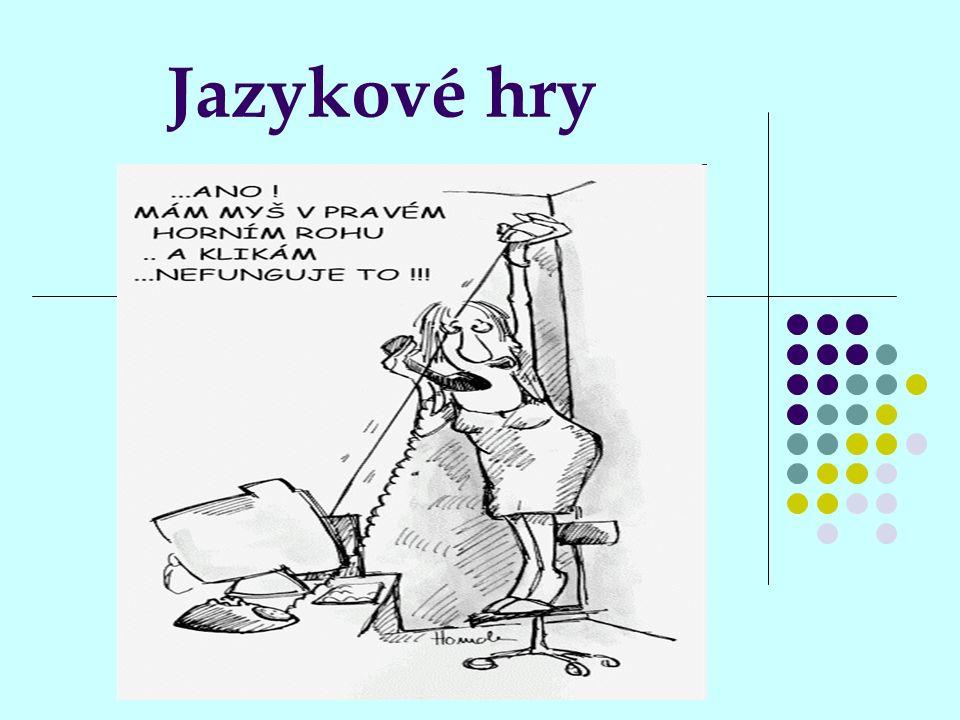 Použitá literatura: Bakalář, E.: Nové psychohry, Portál, Praha, 1998 Zapletal, M.: Špalíček her, Albatros, Praha, 1988 Fučík, B., Pokorný, J.: Zakopaný pes anebo o tom, jak, proč a kde vznikla některá slova, jména, rčení, úsloví, pořekadla a přísloví, Albatros, Praha, 1992 Jelínek, K., Římovský, K., Smolík, Z.: Lidové pranostiky, přísloví, a zvyky v zemědělství, Mendelova zemědělská a lesnická univerzita v Brně, 2004 Houser, P.: Hry se slovem a jazykem, Portál, Praha, 2002 Pišlová, S.: Jazykové hry, Fortuna, Praha, 2008 http://www.the.cz/citaty/index.php?page=humorne http://www.the.cz/citaty/index.php?page=humorne http://www.the.cz/citaty/index.php?page=humorne www.wikipedia.cz www.wikipedia.cz www.wikipedia.cz http://anagram.dingbatway.com/ http://anagram.dingbatway.com/ http://anagram.dingbatway.com/