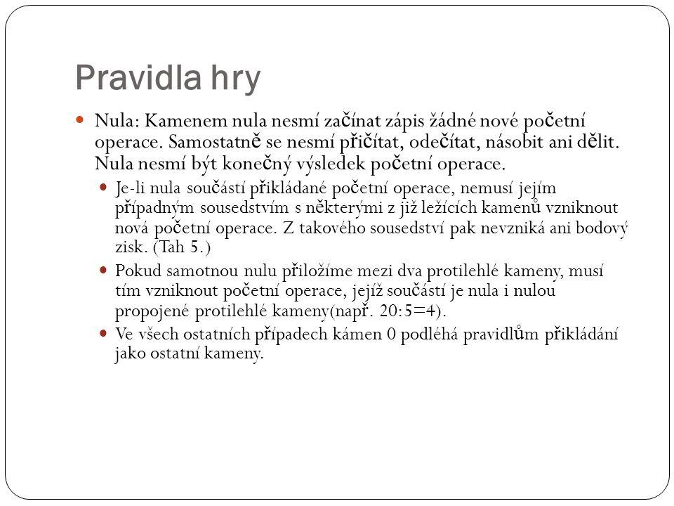 Pravidla hry Nula: Kamenem nula nesmí za č ínat zápis žádné nové po č etní operace.