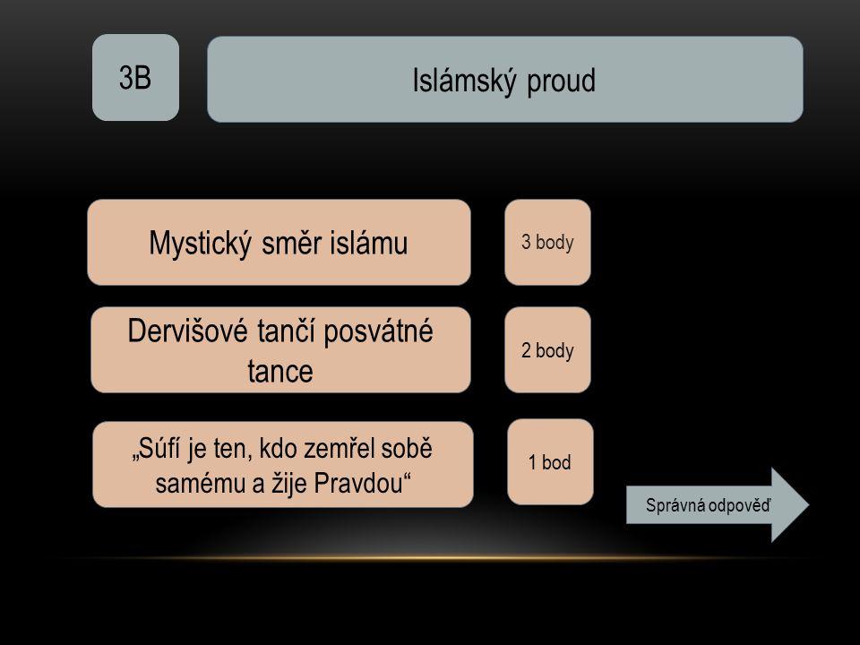 """3B Islámský proud 3 body Mystický směr islámu Dervišové tančí posvátné tance 2 body """"Súfí je ten, kdo zemřel sobě samému a žije Pravdou"""" 1 bod Správná"""