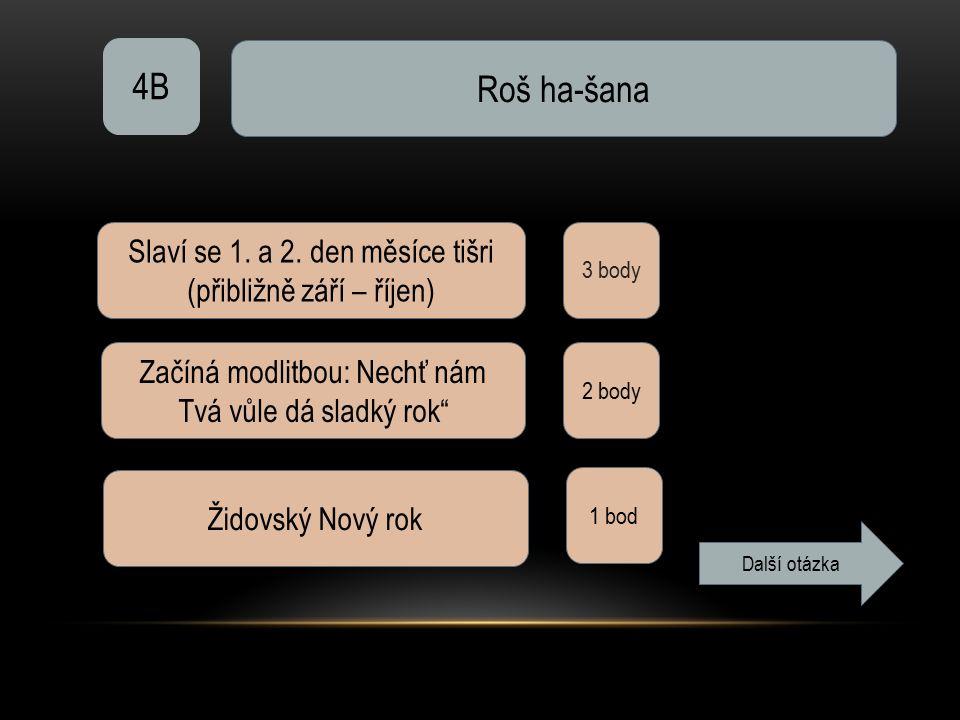 """4B Roš ha-šana 3 body Slaví se 1. a 2. den měsíce tišri (přibližně září – říjen) Začíná modlitbou: Nechť nám Tvá vůle dá sladký rok"""" 2 body Židovský N"""
