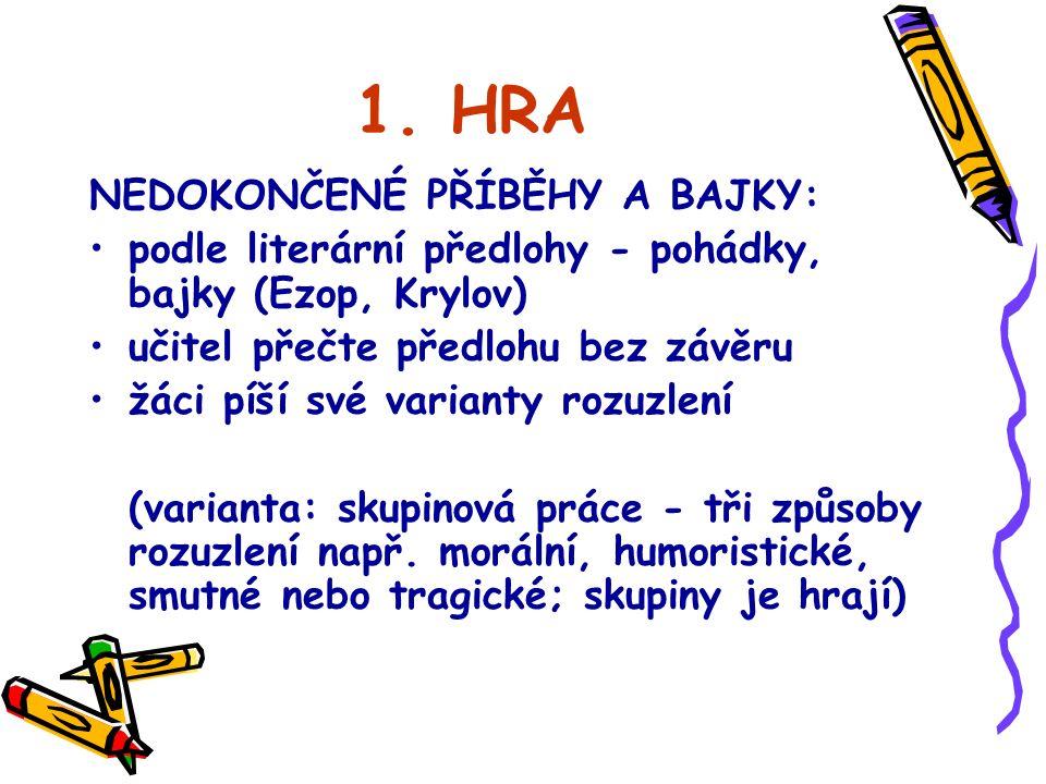 2.HRA KOLEKTIVNÍ PŘÍBĚH Hráč má list papíru a začne psát příběh v určeném rozsahu, např.