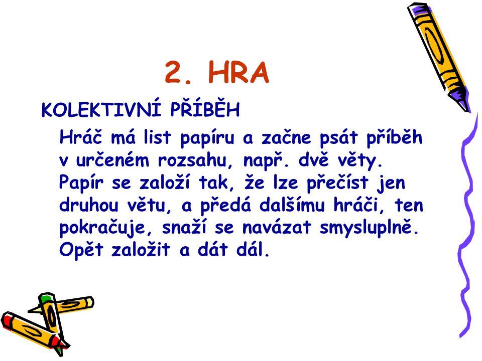 2. HRA KOLEKTIVNÍ PŘÍBĚH Hráč má list papíru a začne psát příběh v určeném rozsahu, např.