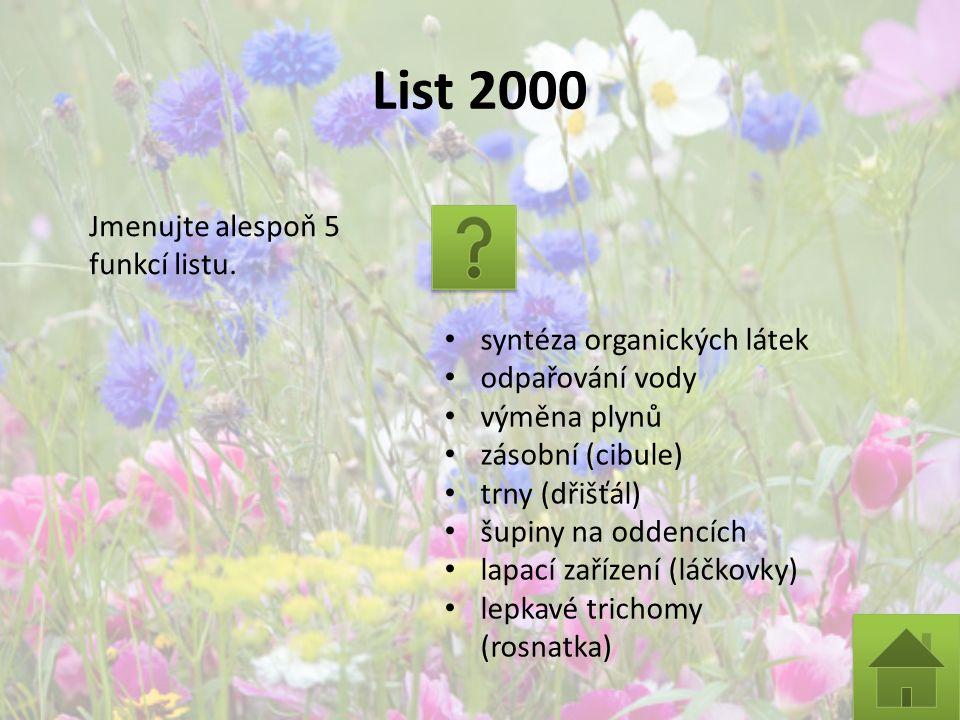 List 2000 Jmenujte alespoň 5 funkcí listu. syntéza organických látek odpařování vody výměna plynů zásobní (cibule) trny (dřišťál) šupiny na oddencích