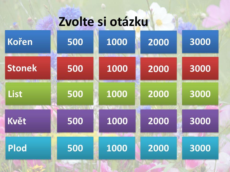 Zvolte si otázku Kořen Stonek List Květ Plod 500 1000 2000 3000 500 1000 2000 3000 500 1000 2000 3000 500 1000 2000 3000 Květ 500 1000 2000 3000