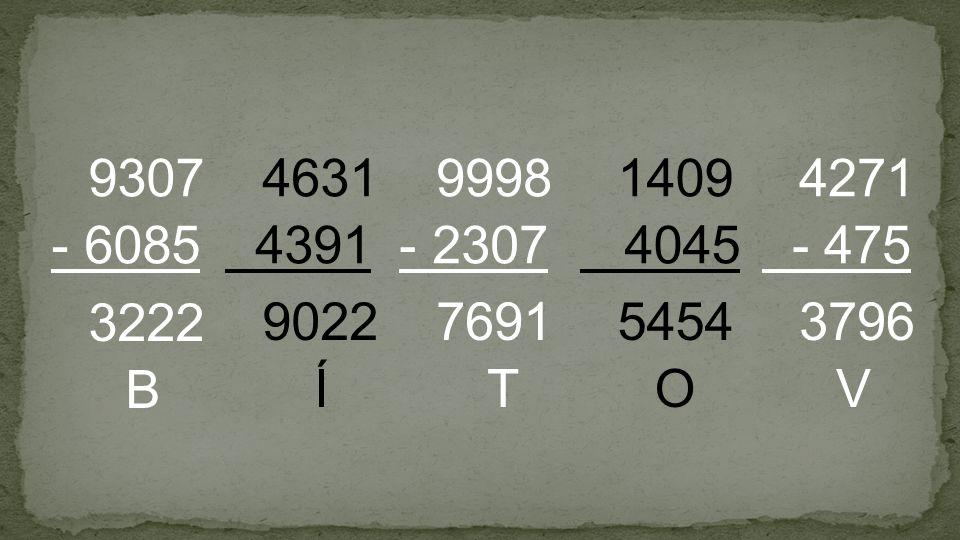 9307 - 6085 4631 4391 9998 - 2307 1409 4045 4271 - 475 3222 B 9022 Í 7691 T 5454 O 3796 V