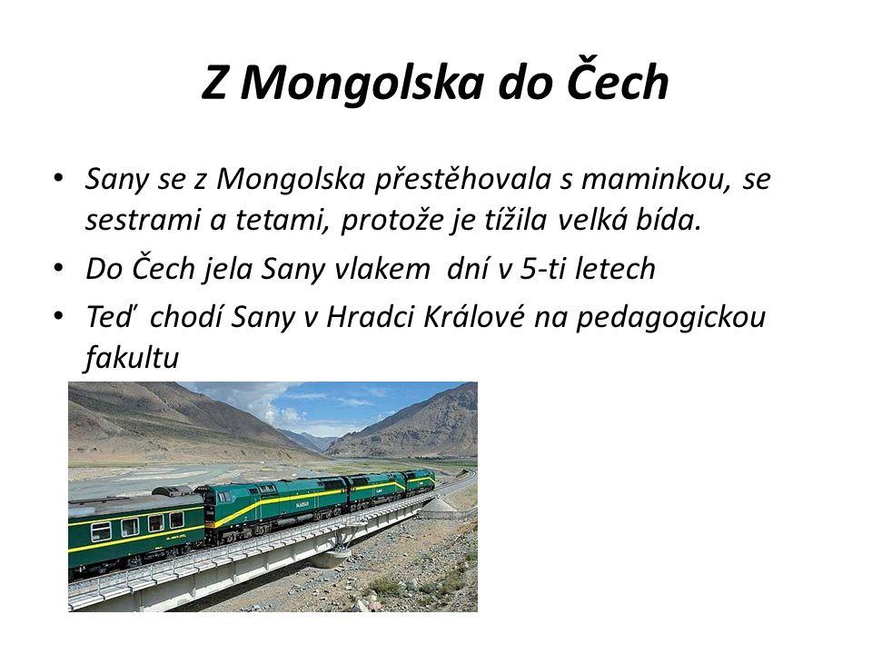 Z Mongolska do Čech Sany se z Mongolska přestěhovala s maminkou, se sestrami a tetami, protože je tížila velká bída. Do Čech jela Sany vlakem dní v 5-