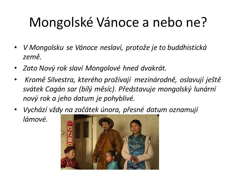 Mongolské Vánoce a nebo ne? V Mongolsku se Vánoce neslaví, protože je to buddhistická země. Zato Nový rok slaví Mongolové hned dvakrát. Kromě Silvestr