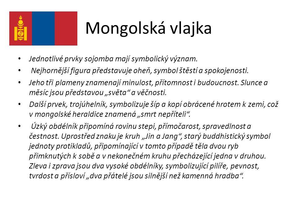 Mongolská vlajka Jednotlivé prvky sojomba mají symbolický význam. Nejhornější figura představuje oheň, symbol štěstí a spokojenosti. Jeho tři plameny