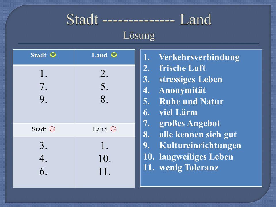1.Verkehrsverbindung 2. frische Luft 3. stressiges Leben 4.